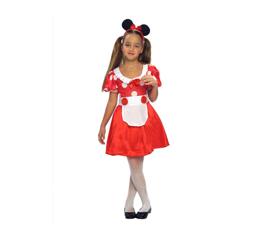 Disfraz barato de Ratoncita o Ratita infantil para Carnaval. Talla de 7 a 9 años. Incluye vestido, cinturón y tocado o diadema.