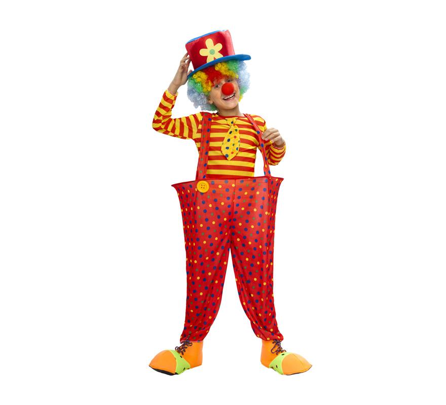 Disfraz barato de Payaso pantalones con aro infantil para Carnavales. Talla de 5 a 6 años. Incluye pantalón con aro, camisa con corbata y sombrero. Resto de complementos NO incluidos, podrás verlos en la sección de Accesorios.