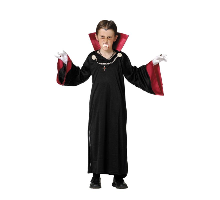 Disfraz de Vampiro para niños. Varias Tallas. Incluye túnica y cuello. Dentadura y guantes NO incluidos, podrás verlos en la sección de Complementos.