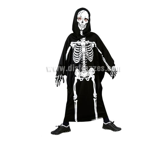 Disfraz de túnica Esqueleto infantil barato para Halloween. Talla de 7 a 9 años. Incluye túnica con huesos impresos y capucha.