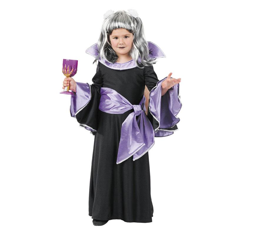 Disfraz de Vampiresa Draculina para niñas. Varias tallas. Incluye vestido y fajín. Peluca y copa NO incluidas, podrás verlas en la sección de Complementos.