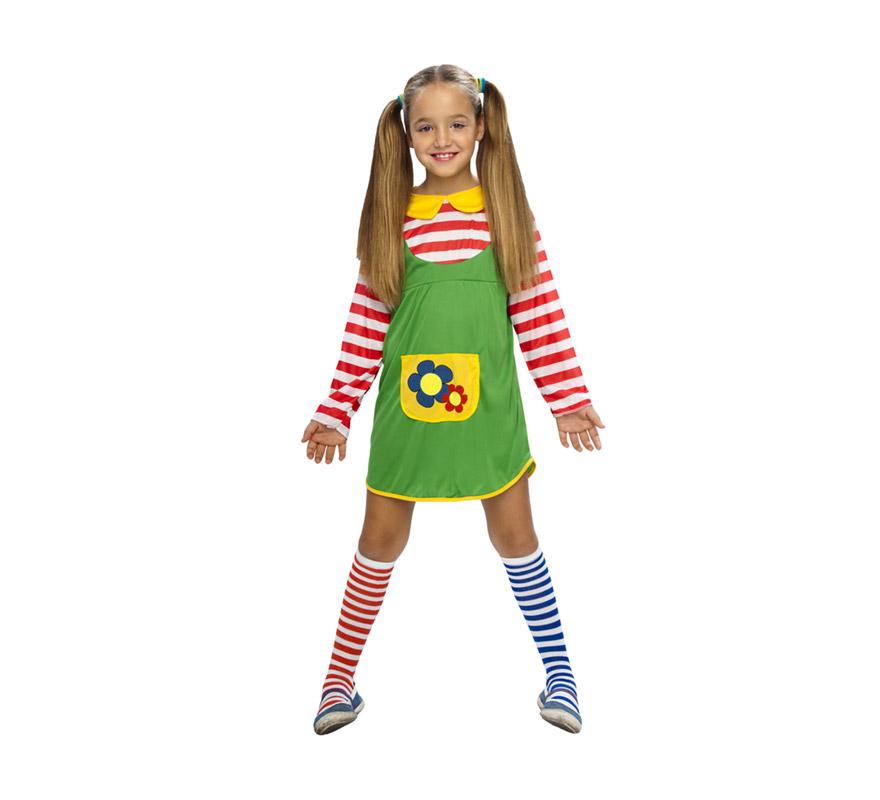 Disfraz barato de Pipi Calzaslargas infantil para Carnaval. Talla de 1 a 2 años. Incluye vestido y calcetas. Peluca NO incluida, podrás verla en la sección Complementos.