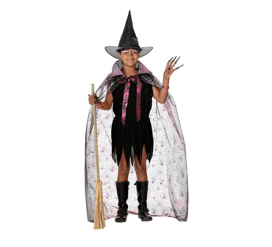 Disfraz de Bruja con capa para niñas. Varias tallas. Incluye vestido y capa. Escoba NO incluida, podrás verla en la sección de Complementos.