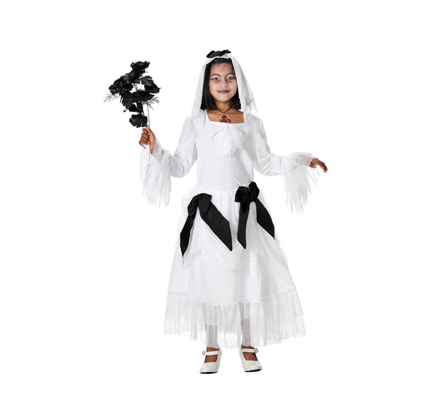 Disfraz de Novia Cadaver para niñas. Varias tallas. Incluye falda, camisa, y tocado. Ramo de rosas negras NO incluido, podrás verlo en la sección de Complementos.