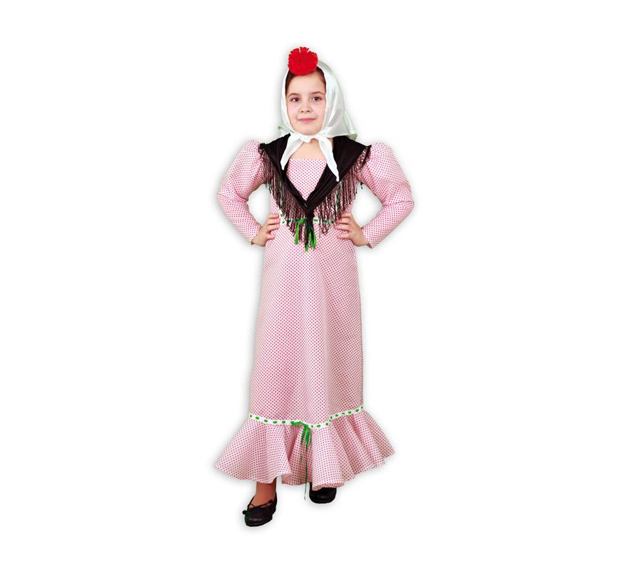 Disfraz de Madrileña para niña. Talla de 1 a 2 años. Incluye vestido y pañuelo. Flor NO incluida. Disfraz de Chulapa para niña ideal para la Feria de San Isidro de Madrid.