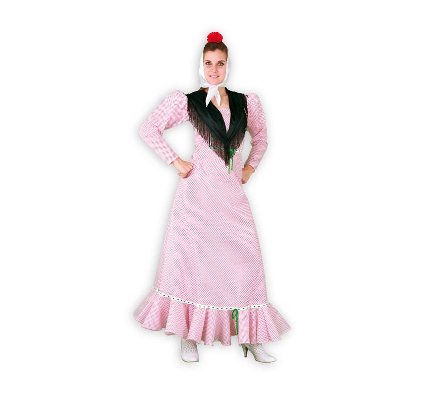 Disfraz de Madrileña o Chulapa para mujer. Talla standar M-L = 38/42. Incluye vestido, pañuelo de la cabeza y mantoncillo. Flor NO incluida. Éste disfraz es ideal para la Feria de San Isidro de Madrid y para cualquier Fiesta de disfraces del año. La pareja de éste disfraz es la ref. 08270BT o 08271BT que es el disfraz de Madrileño en talla Universal y en talla XL.