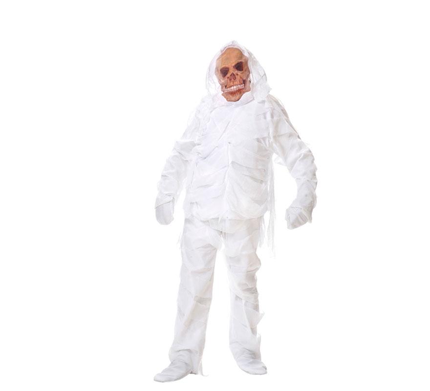 Disfraz de Momia para hombre. Varias tallas. Incluye casaca, pantalón y máscara. Fabricado en España.