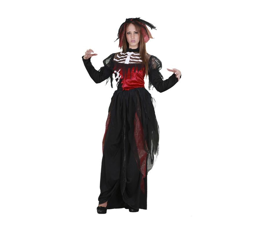 Disfraz de la Novia Esqueleto adulta para Halloween. Talla estándar M-L = 38/42. Disfraz de Halloween de buena calidad que incluye vestido y tocado.