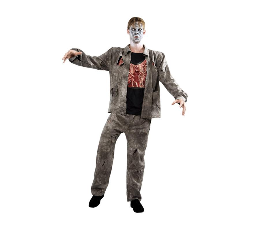 Disfraz de Zombie adulto para Halloween. Talla Standar M-L 52/54. Disfraz de Halloween de buena calidad que incluye chaqueta, pantalón y pechera simulando músculos y vísceras.