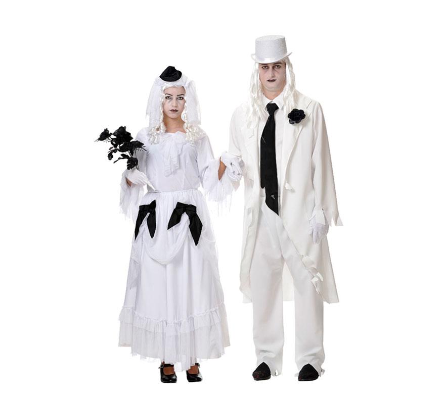 Disfraz de Novia Cadáver para mujer. Disponible en dos tallas, 38/ 40 y 42/44 de mujer. Incluye tocado, camisa y falda. Peluca y ramo de flores negras NO incluidos, podrás verlos en la sección de Complementos. Fabricado en España.