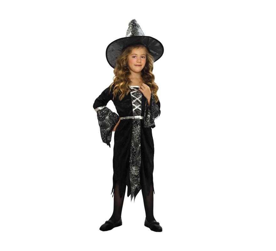 Disfraz de Brujita o Bruja con arañas infantil barato para Halloween. Talla de 7 a 9 años. Incluye gorro y vestido. Escoba NO incluida, podrás verla en la sección Complementos.