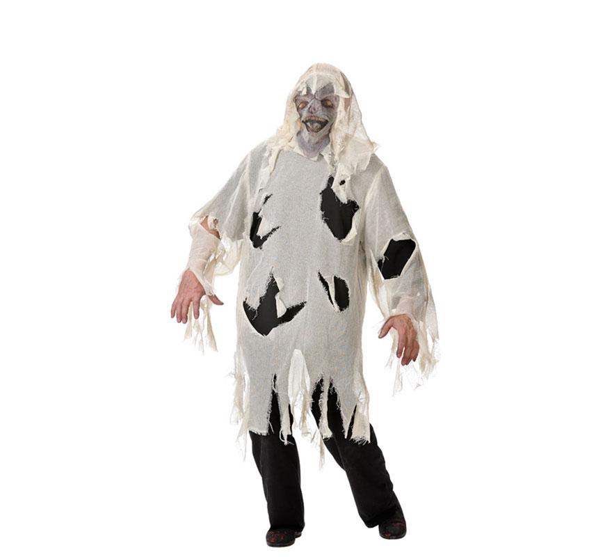Disfraz de Zombie para hombre. Varias tallas. Incluye casaca, pantalón, máscara y camisa. Fabricado en España.