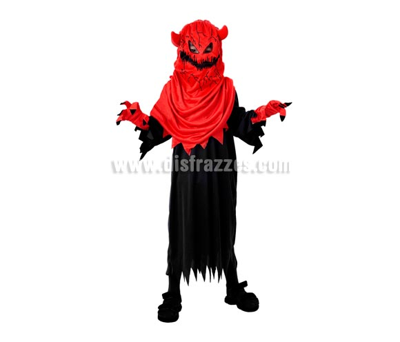 Disfraz de Diablo o Demonio Monstruoso infantil barato para Halloween. Talla de 5 a 6 años. Incluye túnica, capucha con máscara y guantes.
