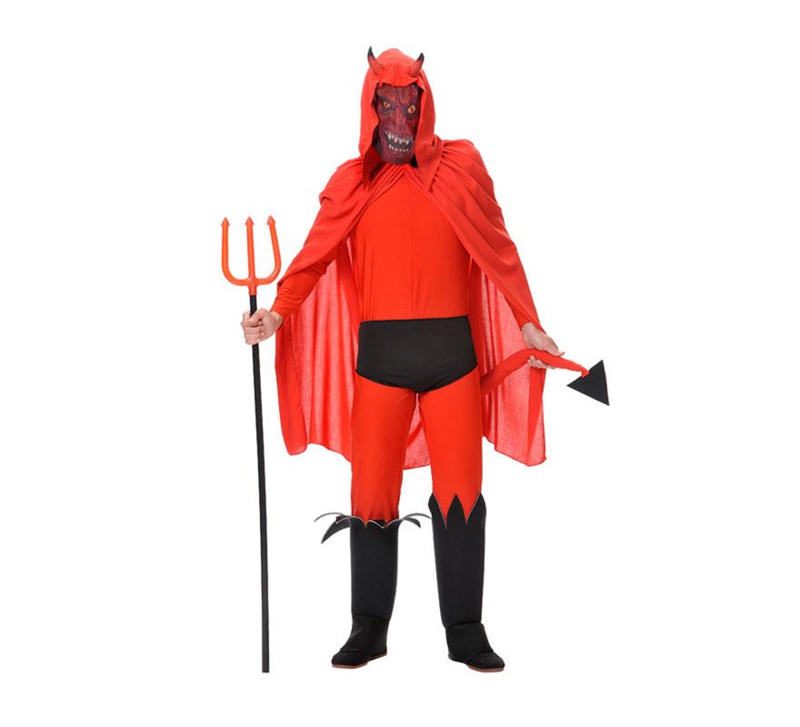 Disfraz de Demonio o Diablo para hombre. Talla Universal de hombre. Incluye máscara-cuernos, camisa, pantalón, capa, cubrebotas y calzón. Tridente NO incluido, podrás verlo en la sección de Complementos. Fabricado en España.
