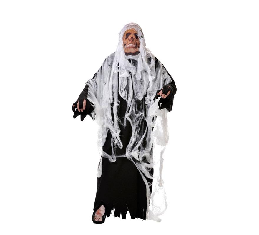 Disfraz de Hombre de las Tinieblas para Halloween. Varias tallas. Incluye túnica-tela araña, máscara, casaca y zapato-cubrepie. Fabricado en España.