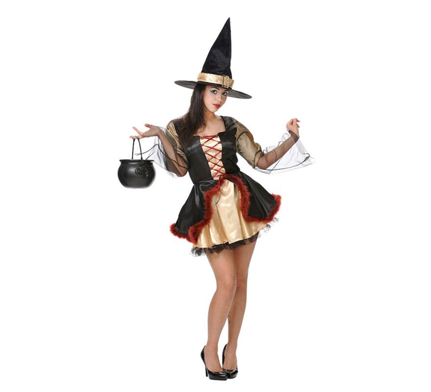 Disfraz de Bruja Sexy (sin gorro) para mujer. Varias tallas. Incluye vestido, sombrero NO incluido, podrás ver sombreros en la sección de Complementos. Fabricado en España.