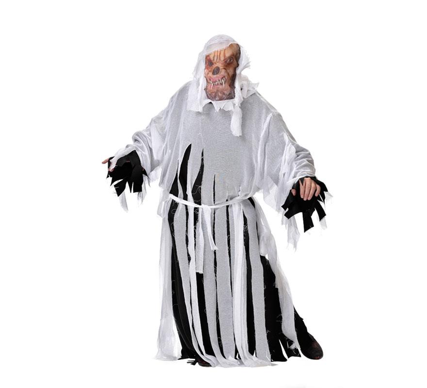 Disfraz de Licántropo para hombre. Varias tallas. Incluye túnica, careta, cinturón y casaca. Disfraz de Hombre Lobo perfecto para Halloween. Fabricado en España.