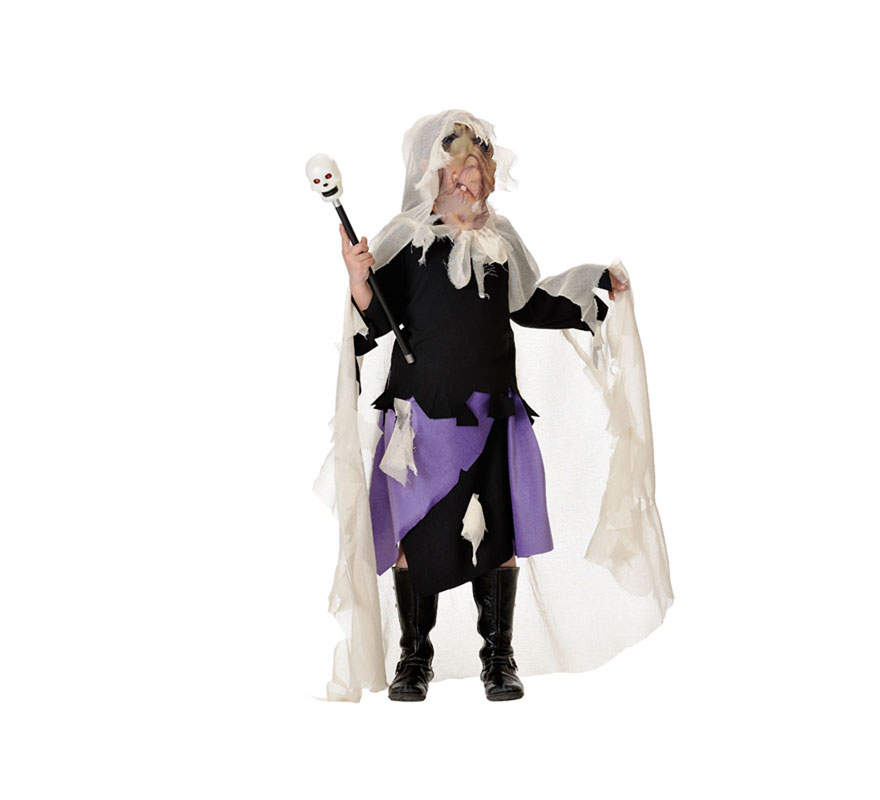 Disfraz de Bruja Hechicera para  mujer. Talla única de mujer 44. Incluye máscara-capa, casaca y falda. Fabricado en España.