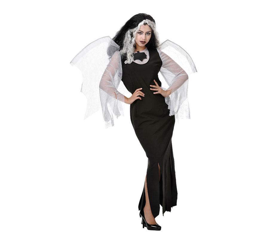 Disfraz de Vampira o Vampiresa mujer para Halloween. Talla Universal válida hasta la 42/44. Incluye vestido y alas. Fabricado en España.
