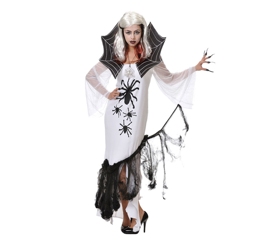 Disfraz de Mujer Araña para Halloween. Talla única de mujer. Incluye vestido y telaraña. Fabricado en España.