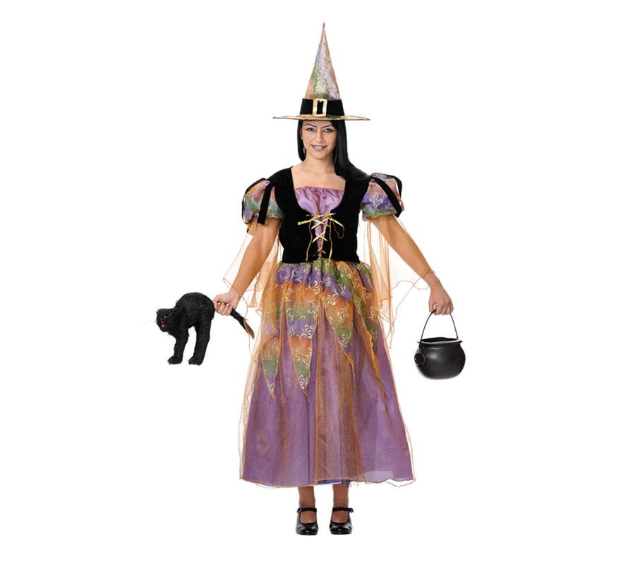 Disfraz de Bruja buena con luz de fibra óptica. Varias tallas. Incluye vestido con luz y sombrero. El gato y el caldero podrás verlos en la sección de Complementos o Decoración de Halloween.