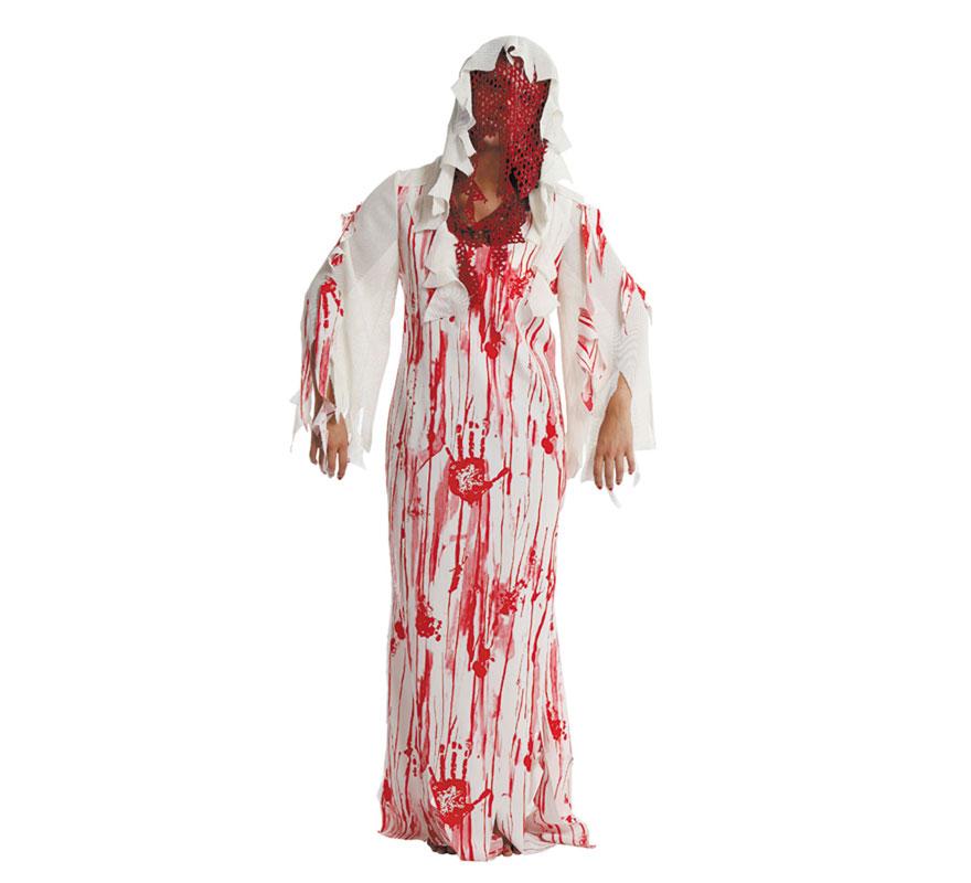 Disfraz de Muerta Viviente para mujer. Talla única 44. Incluye túnica y capucha. Fabricado en España.