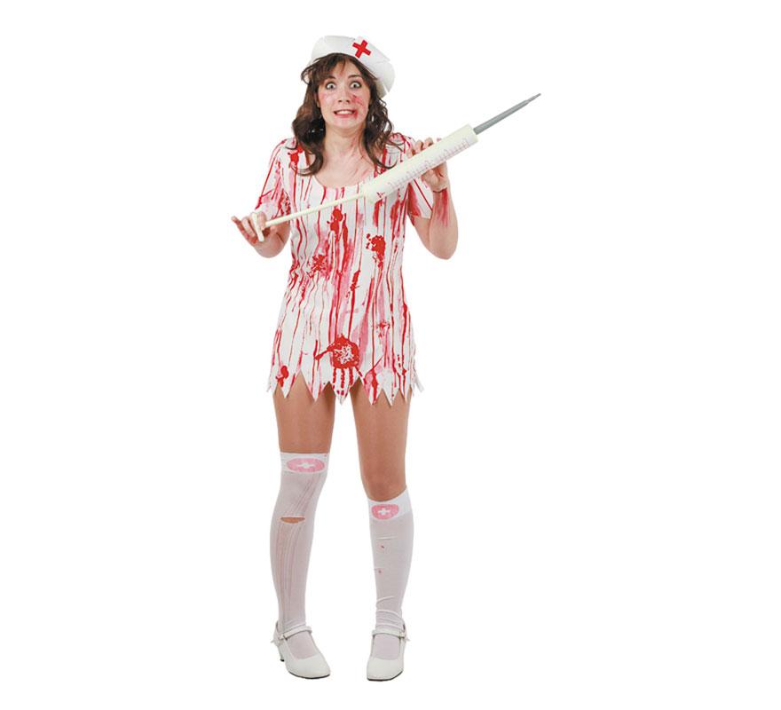 Disfraz de Enfermera muerta para mujer. Talla única 44. Incluye cofia, vestido y medias. Jeringuilla NO incluida, podrás verla en la sección de Complementos. Fabricado en España.