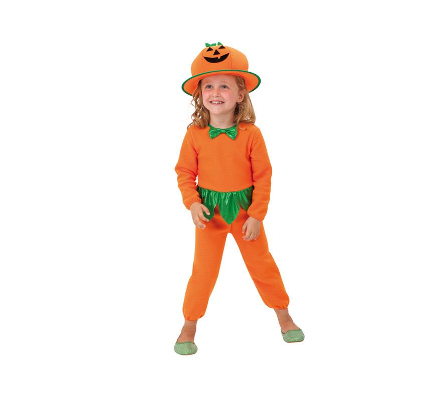 Disfraz de Calabaza infantil para Halloween. Talla de 1 a 2 años. Disfraz barato de Halloween que incluye mono y sombrero.