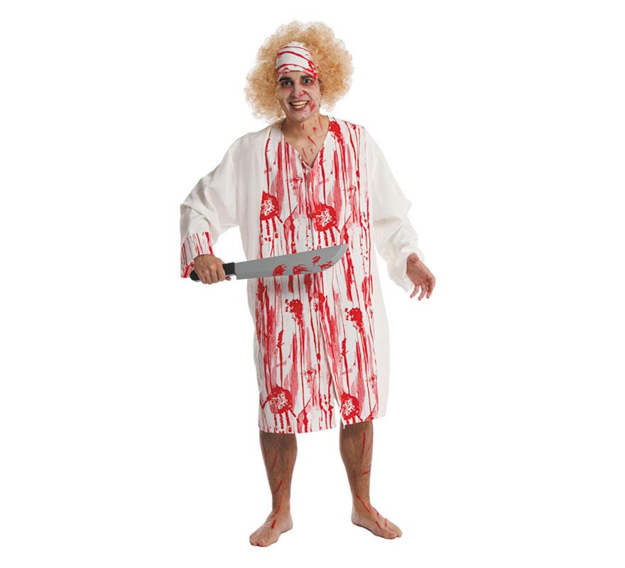 Disfraz de Canibal loco para hombre. Talla única 52. Incluye bata impresa, gorro y peluca. Cuchollo NO incluido, podrás verlo en la sección de Complementos. Fabricado en España.