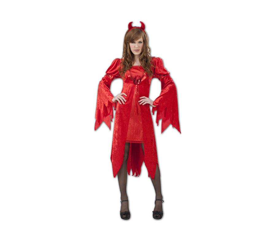 Disfraz de Diablesa lujosa adulta para Halloween. Talla Standar M-L = 38/42. Disfraz de Halloween barato que incluye vestido y cuernos. Tridente NO incluido, podrás verlo en la sección de Complementos.