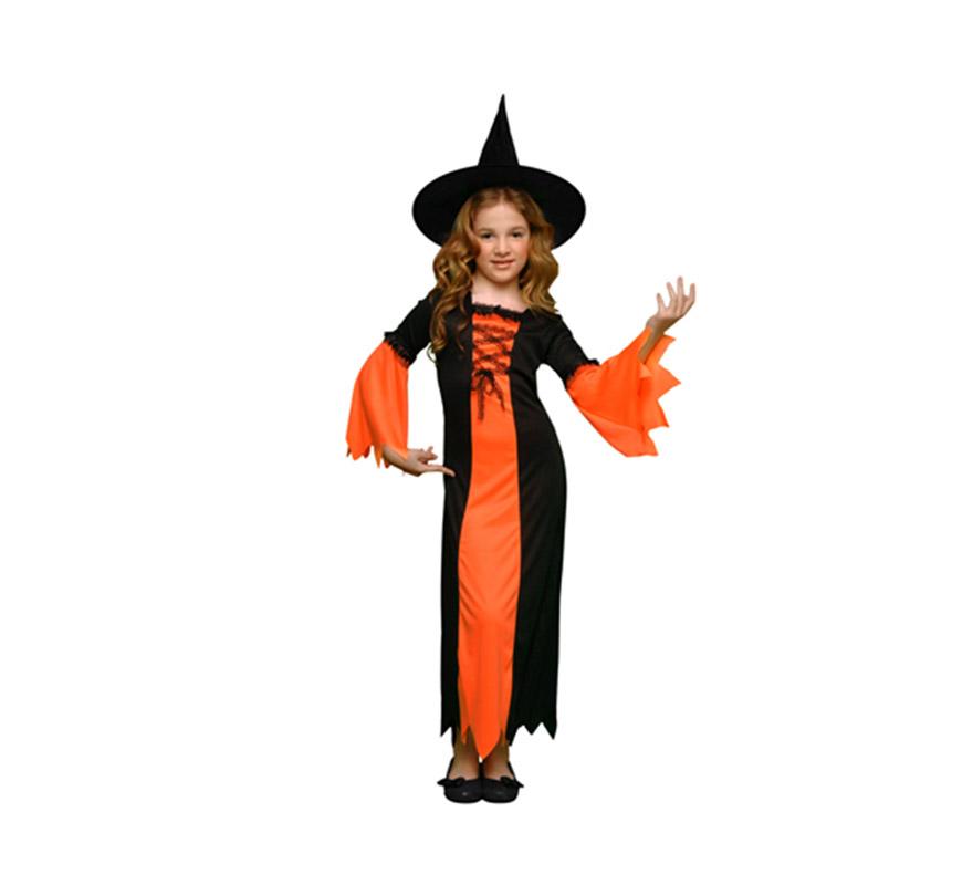 Disfraz de Bruja Naranja vstido largo infantil barato para Halloween. Talla de 10 a 12 años. Incluye vestido y sombrero de bruja.