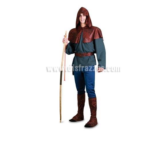 Disfraz barato de Robin Hood para hombre. Talla standar 52/54. Incluye camisa, capelina con capucha, pantalones, cinturón y cubrebotas. Bonito disfraz del auténtico Héroe de los Bosques de Sherwood, para conquistar a Lady Marian. Arco NO incluido, podrás verlo en la sección de Accesorios.