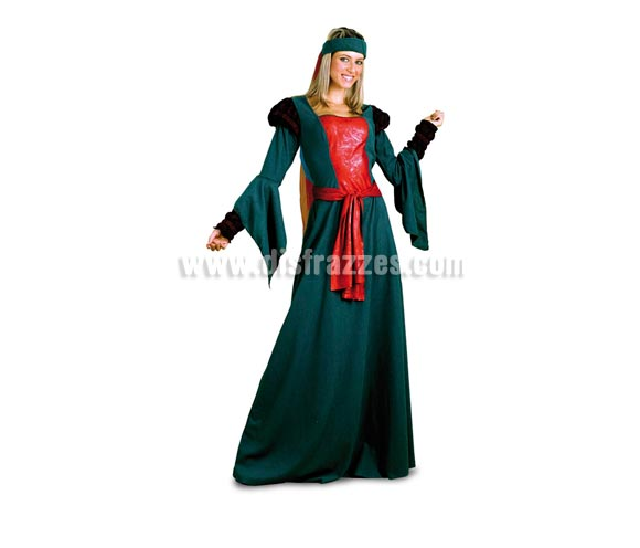 Disfraz de Lady Marian para mujer. Talla Standar M-L 38/42. Incluye vestido y tocado con velo. Éste traje es precioso y genial para una Boda o Feria Medieval. Si encima vas acompañada por el fantástico Robin Hood, pues para qué más, fijo que llamáis la atención.