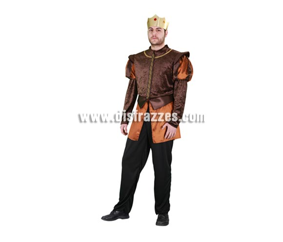 Disfraz de Príncipe Medieval dorado para hombre. Talla standar M-L 52/54. Incluye pantalón, camisa y corona. Éste traje que también puede servir como de Rey Medieval es perfecto para Fiestas Medievales.