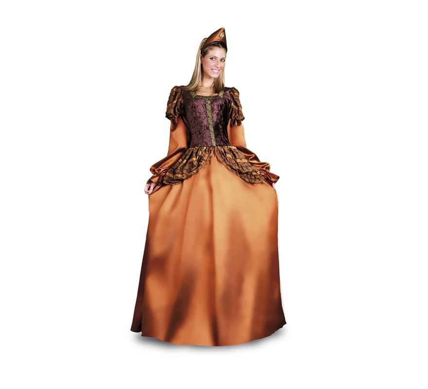 Disfraz de Princesa Medieval Dorada para mujer. Talla standar M-L = 38/42. Incluye vestido y tocado. Muy bonito y elegante para Ferias Medievales.