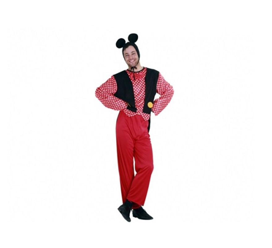 Disfraz barato de Sr. Ratón para hombre. Talla standar M-L = 52/54. Incluye pajarita, gorro, camisa, chaqueta y pantalón. Este traje es perfecto para Despedidas de Soltero y para imitar a Micki Mouse y reirte un rato. Éste traje tiene como pareja la ref. 09155BT.