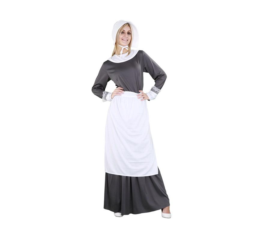 Disfraz de Puritana gris para mujer. Talla M-L = 38/42. Incluye sombrero, camisa, falda y delantal. Disfraz de la época de la Casa de la Pradera o del Oeste cuando algunas mujeres vestían así.