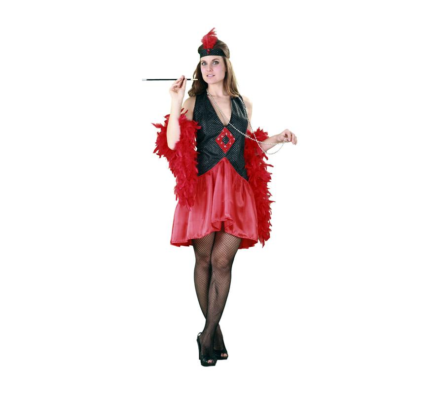 Disfraz de Mujer de los Años 20. Talla M-L 38/42. Incluye tocado y vestido. Boa y medias NO incluidas, podrás verla en la sección de Complementos. Éste disfraz es perfecto para revivir la época de los Gánsters de los Años 20 en América.