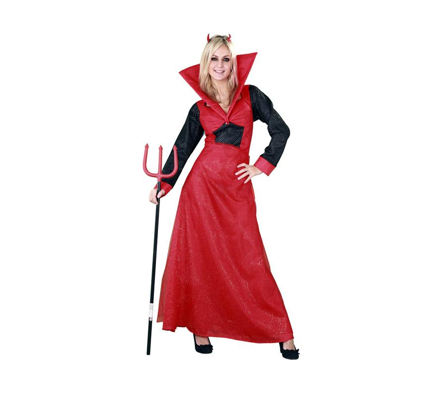 Disfraz de Diablesa vestido largo adulta para Halloween. Talla estándar M-L = 38/42. Disfraz de Halloween de buena calidad que incluye diadema de cuernos y vestido. Tridente NO incluido, podrás verlo en la sección Complementos para Halloween.