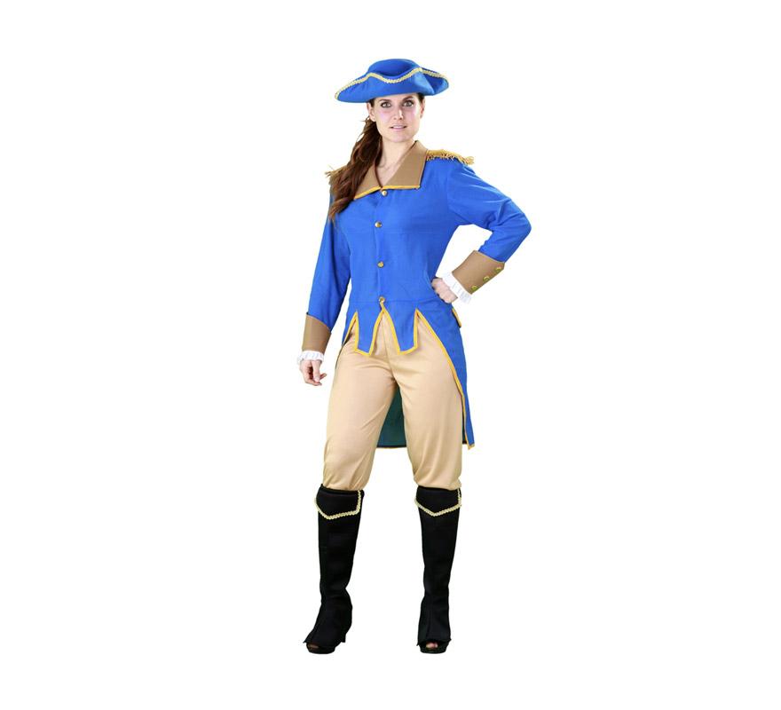Disfraz de Giorgina Washington para mujer. Talla standar M-L = 38/42. Incluye sombrero, chaqueta , pantalón y cubrebotas. Éste disfraz es como la peli del Patriota pero para chicas, muy original ¡di que sí! Excelente relación calidad - precio.
