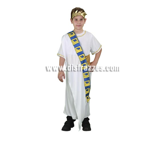 Disfraz barato de Senador Romano para niños de 3 a 4 años. Incluye corona, túnica, manto y fajín. Ideal también para Navidad, para hacer representaciones de Belén viviente.