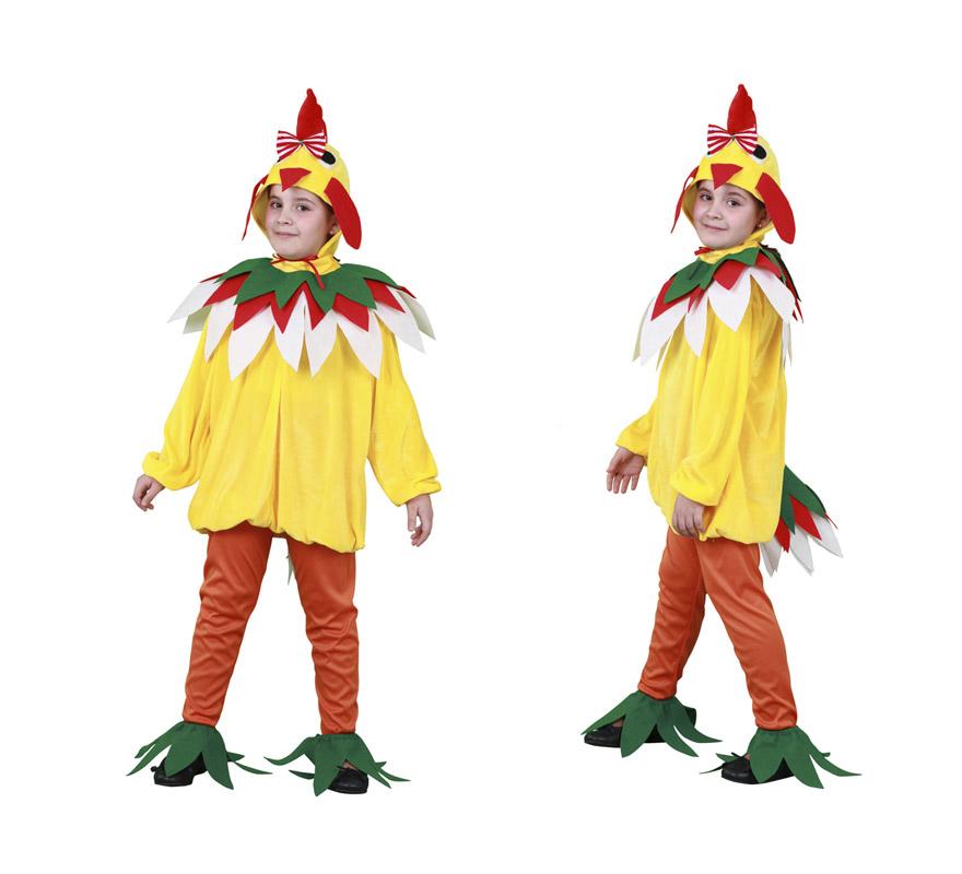 Disfraz de Gallina para niñas de 5 a 6 años. Incluye gorro, cuello, vestido, mallas y cubrezapatos.