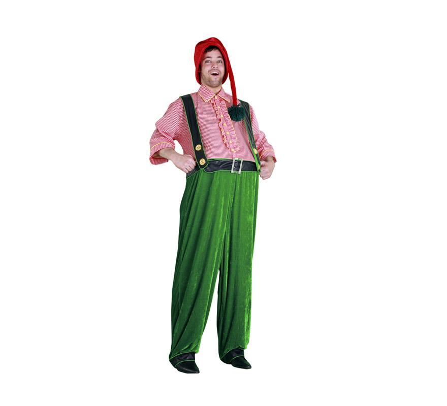 Disfraz de Duende gordito para hombre. Talla standar M-L =  52/54. Incluye gorro y disfraz completo tipo mono. Éste disfraz también se puede usar en Navidad en teatros y Cabalgatas de Reyes.