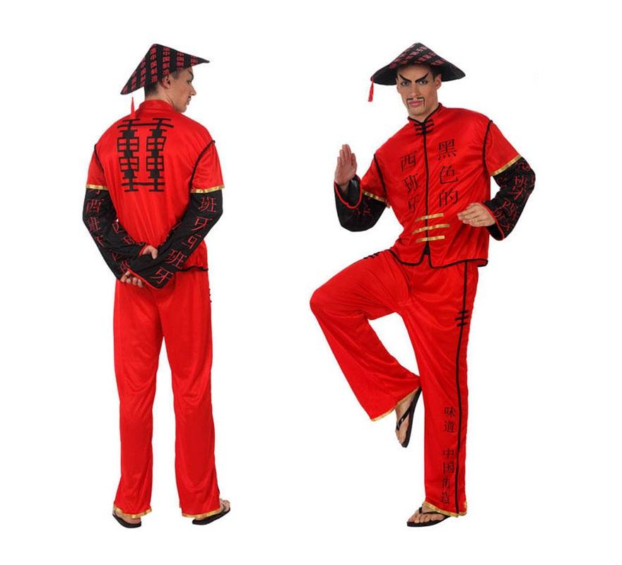 Disfraz de Chino rojo para hombre. Talla 1 ó talla S 48/52 para chicos delgados o adolescentes. Incluye pantalón, camisa y gorro.