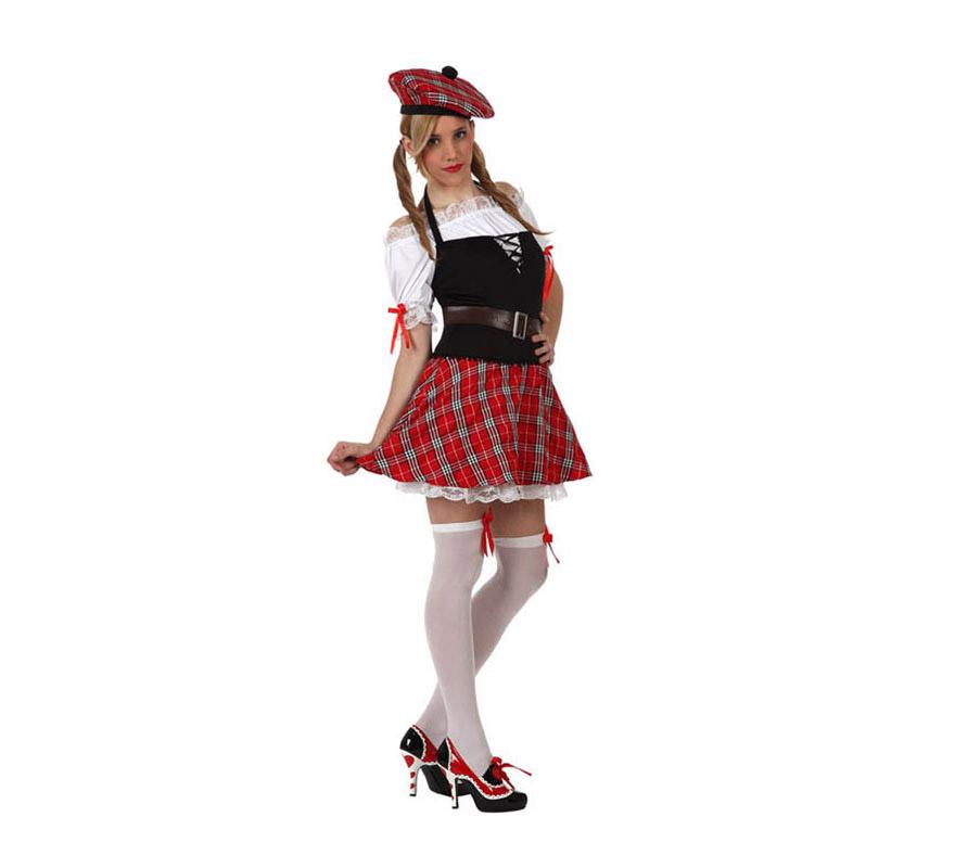 Disfraz de Chica Escocesa sexy para mujer. Talla 2 ó talla Standar M-L 38/42. Incluye vestido, camisa, cinturón y gorro.
