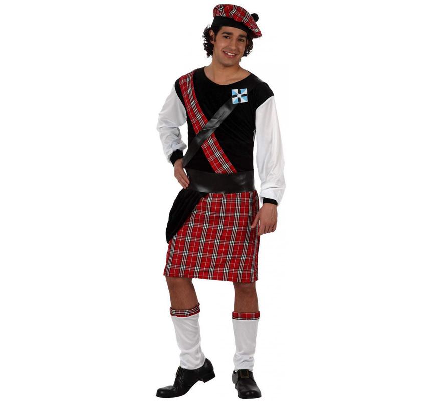 Disfraz de Escocés para hombre. Talla 2 ó talla Standar M-L 52/54. Incluye disfraz completo.