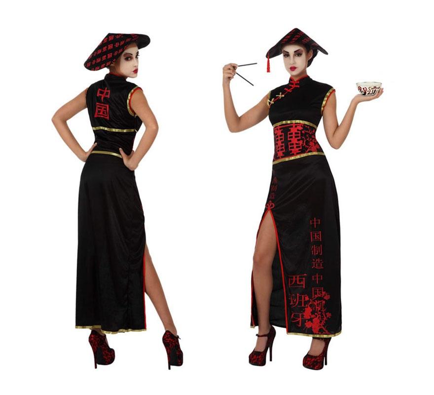 Disfraz de China en negro para chicas. Talla 1 ó talla S 34/38 para mujeres delgadas o adolescentes. Incluye vestido y sombrero.