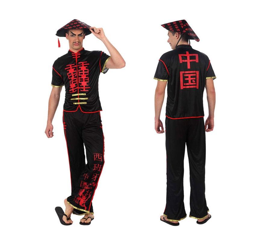 Disfraz de Chino en negro para hombre. Talla 2 ó talla Standar M-L 52/54. Incluye pantalón, camisa y gorro.