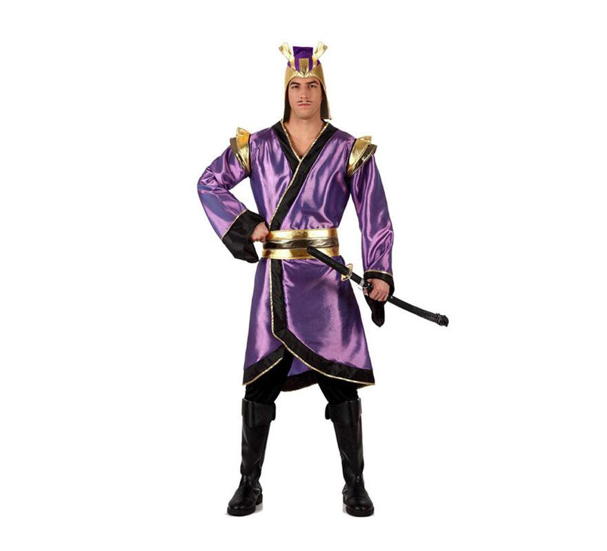 Disfraz de Japonés para hombre. Talla 2 ó talla Standar M-L 52/54. Incluye pantalón, cinturón, casaca y gorro. Espada NO incluida, podrás verla en la sección de Complementos. Disfraz de Guerrero Samurai para chicos muy original.