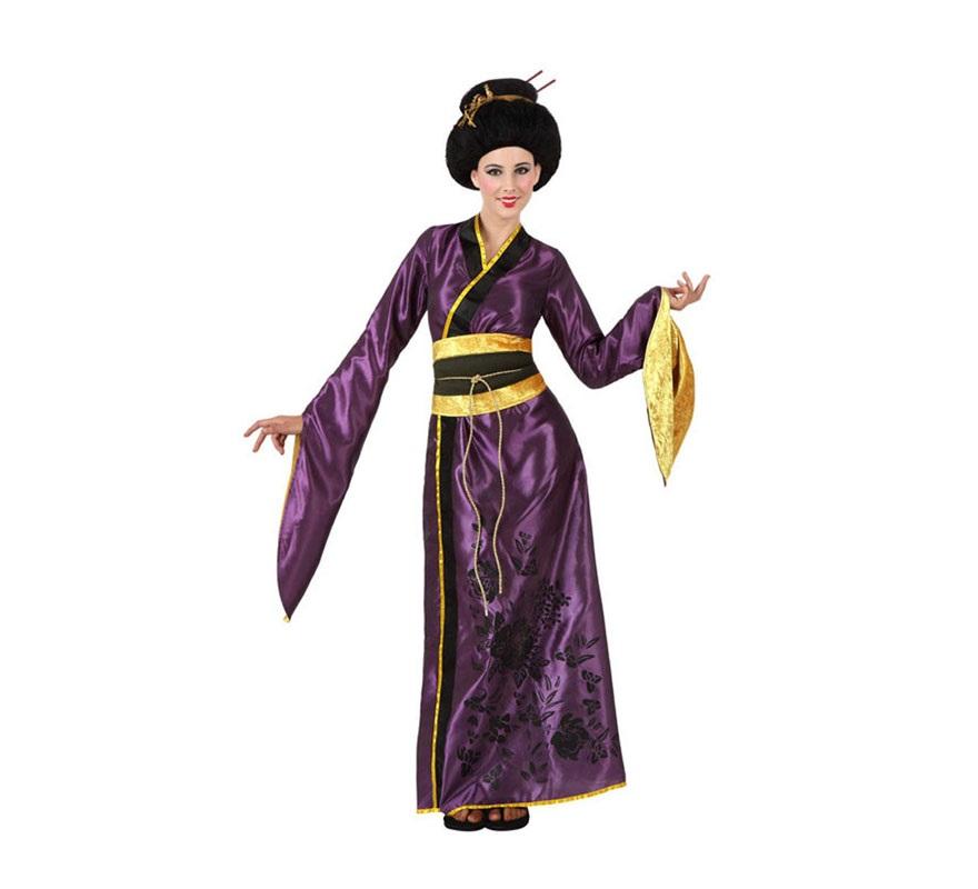 Disfraz de Gheisa Japonesa para mujer. Talla 2 ó talla Standar M-L 38/42. Incluye vestido y fajín. Peluca NO incluida, podrás ver algunas referencias en la sección de Complementos.